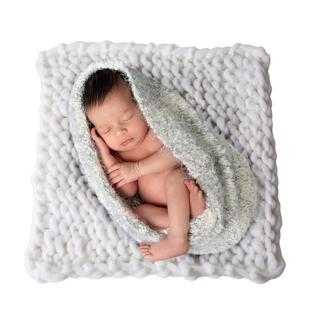 Play Tailor Chunky Knit Blanket for Newborn Photography Props Baby Photo Backdrop Rugs Newborn Basket Filler (19.7