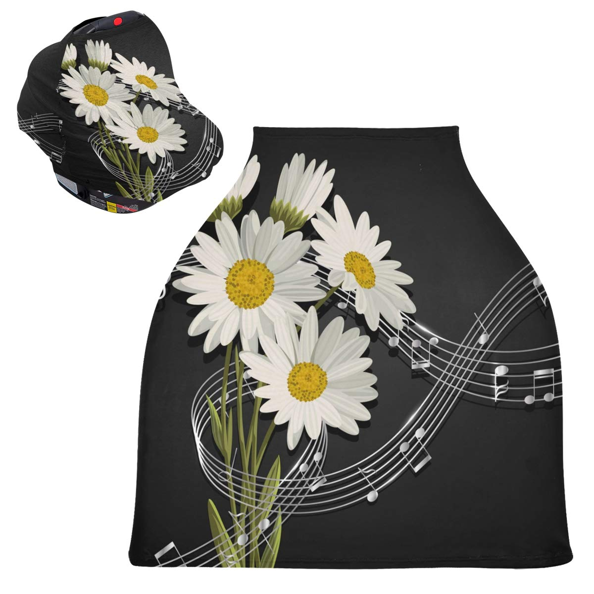 Stretchy Baby Car Seat Canopy - Music Notes and Daisy Flowers On Black Infant Stroller Cover Multi Use Carseat Canopy Cover Nursing Cover for High Chair