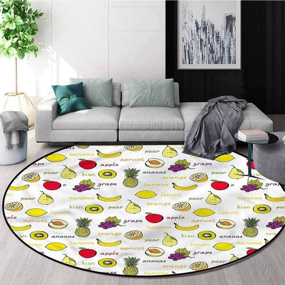 RUGSMAT Fruits Round Kids Rugs,Summer Fresh Eating Home Decor Area Rug Diameter-71