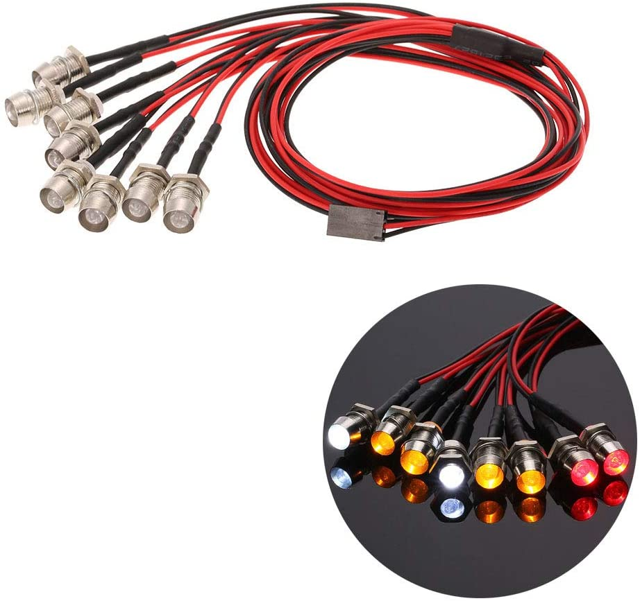 ACHICOO 8 LED Light Kit 2 White 2 Red 4 Yellow for 1/10 1/8 Tra-xxas HSP Redcat RC4WD Ta-Miya AX-IAL SCX10 D90 HPI RC Car LED Lamp Gag Gifts for Kids