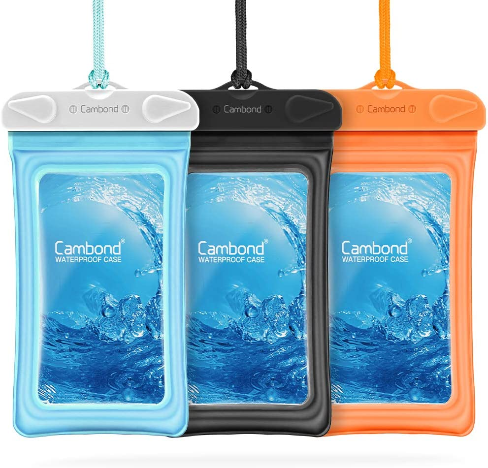 Floating Waterproof Phone Pouch, Cambond 3 Pack Waterproof Phone Case, Transparent PVC Water Proof Cell Phone Pouch Dry Bag with Lanyard for iPhone Xs Max XR X 8 7 6 Plus (Blue+Black+Orange)