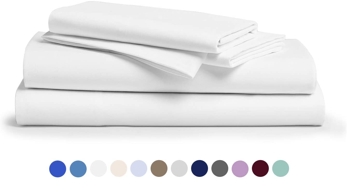 600-Thread-Count 100% Egyptian Cotton Sheets White Twin Size, 4-Piece Extra Long-Staple Combed Cotton Set for Bed, Breathable, Soft & Silky Sateen Weave Fits Mattress 16'' Deep Pocket