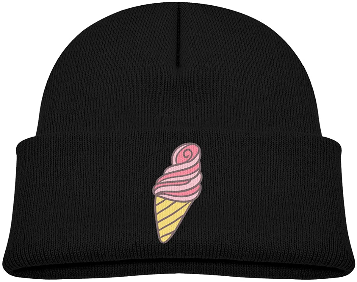 Kids Knitted Beanies Hat Pink Ice Cream Cone Winter Hat Knitted Skull Cap for Boys Girls Black