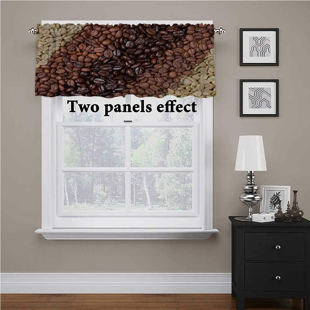 shirlyhome Kitchen Window Treatments Coffee Beans Stripes for Kids Room/Baby Nursery/Dormitory, 54 Inch by 12 Inch 1 Panel