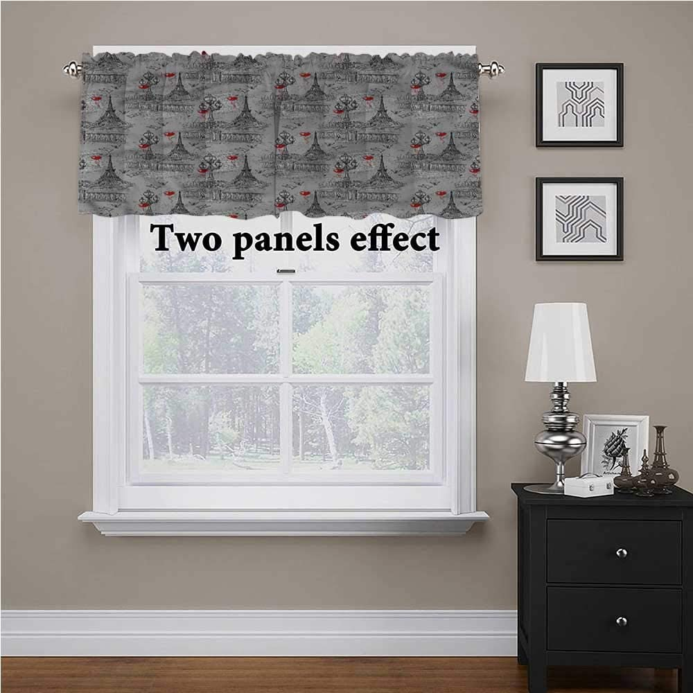 shirlyhome Eiffel Window Treatments River Seine and Doves for Kids Room/Baby Nursery/Dormitory, 42 Inch by 18 Inch 1 Panel