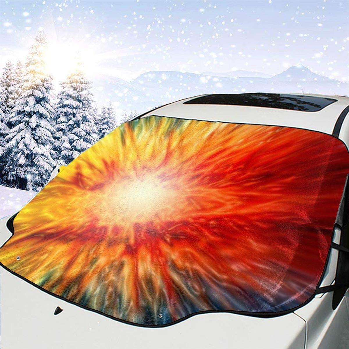 THONFIRE Car Front Window Windshields Winter Sun Shades Explosion Fire Cover Windproof Blocks Heat Keeps Your Vehicle Cool Visor Protector Minivan Spring Heatshield