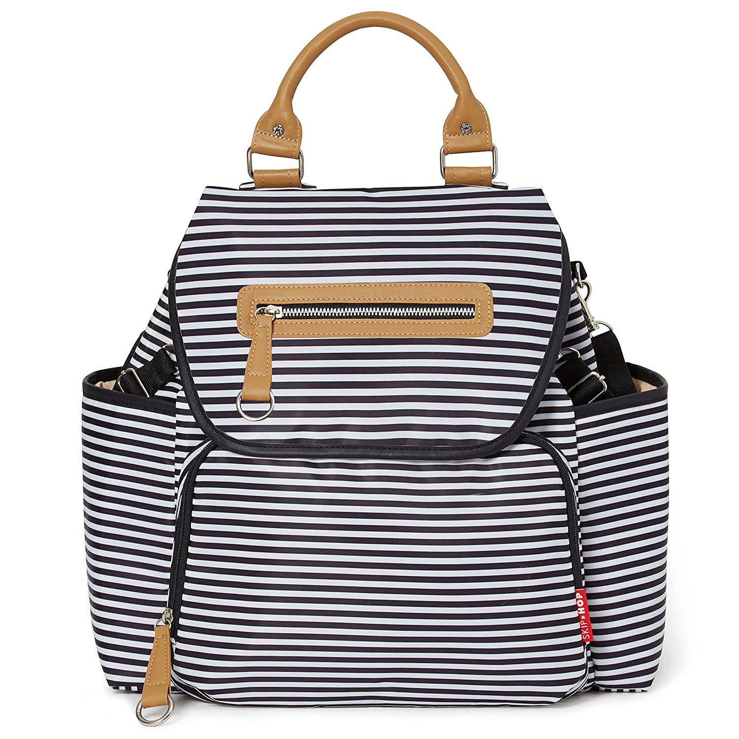 Skip Hop Diaper Bag Tote with Matching Changing Pad, Grand Central, Black & White Stripe #216101