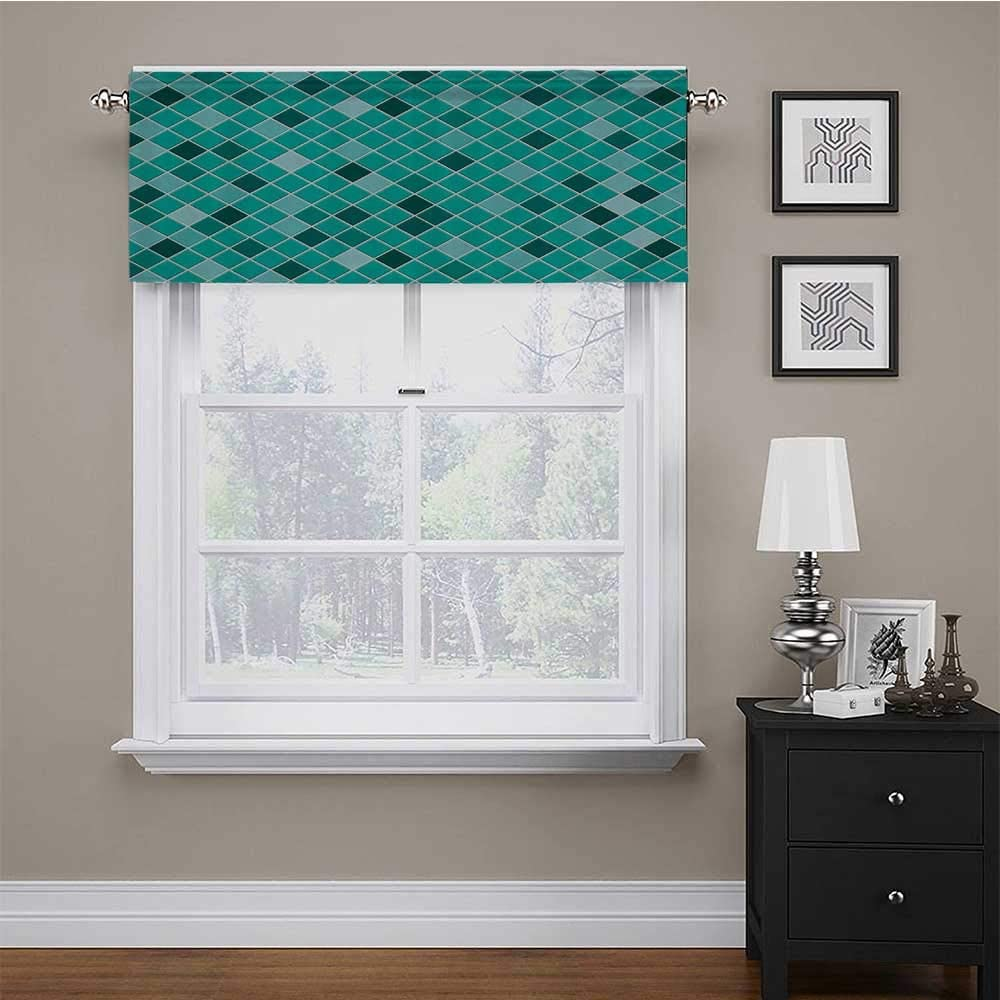 carmaxs Kitchen Window Curtains Turquoise Decor Collection for Kids Room/Baby Nursery/Dormitory Pattern of Small Rhombuses Diamond Shaped Mosaic Tiles Simple Classical Image 42
