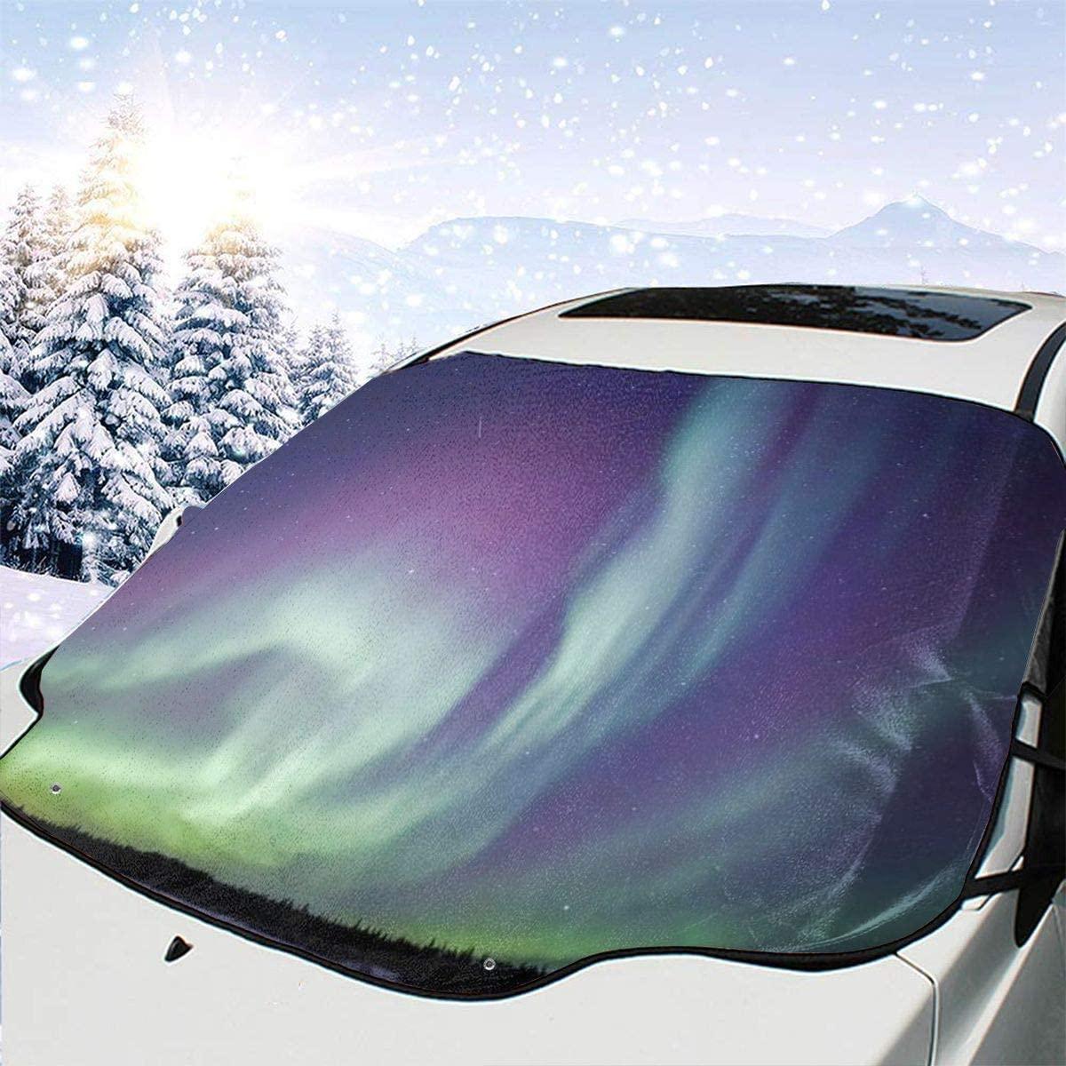 THONFIRE Car Front Window Windshield Winter Sunshade Northern Lights Adventure Cover Waterproof Blocks Heat Damage Free Visor Protector Automobile Summer Heatshield