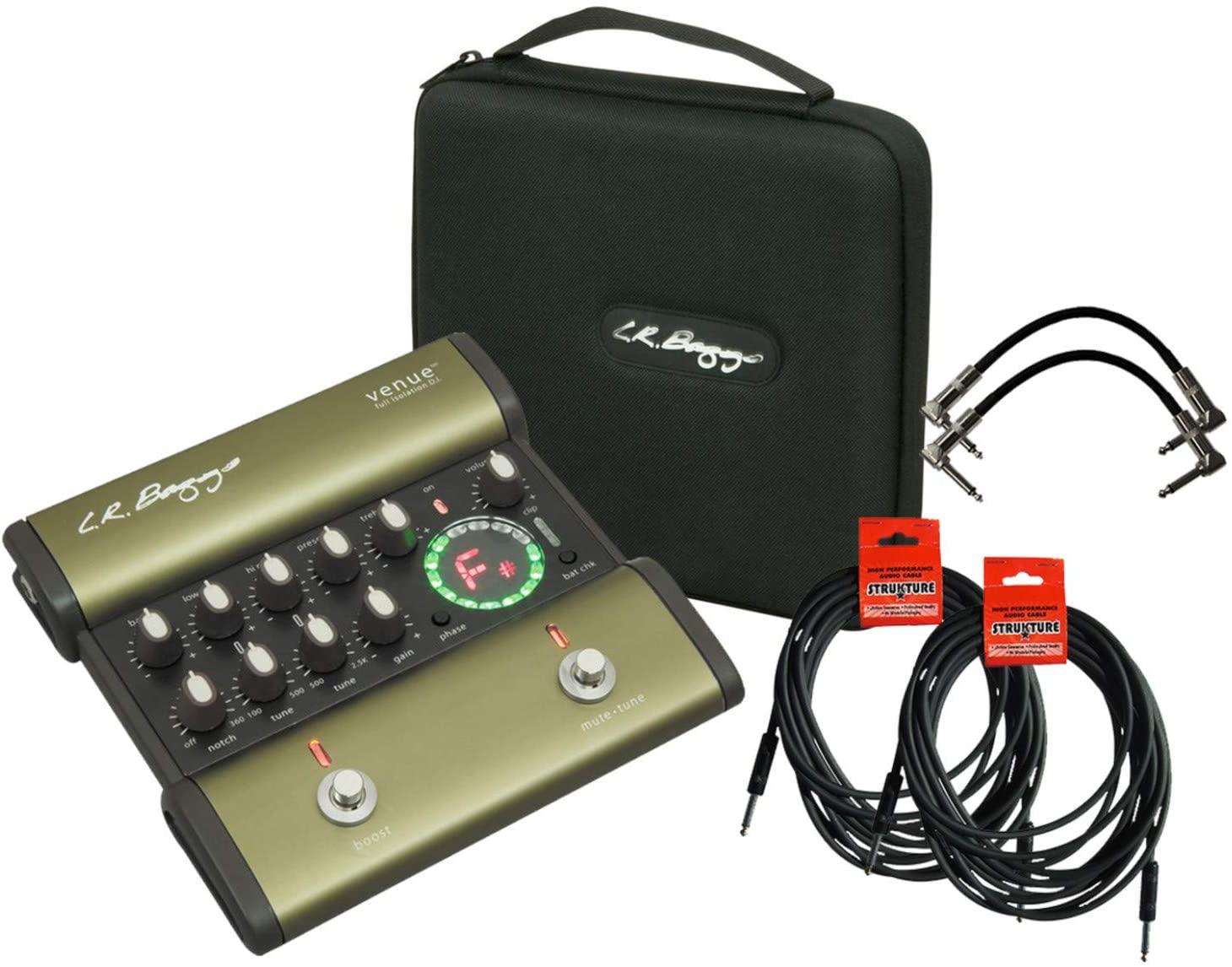 LR Baggs Venue DI Direct Box Footpedal Tuner w/ 4 Cables