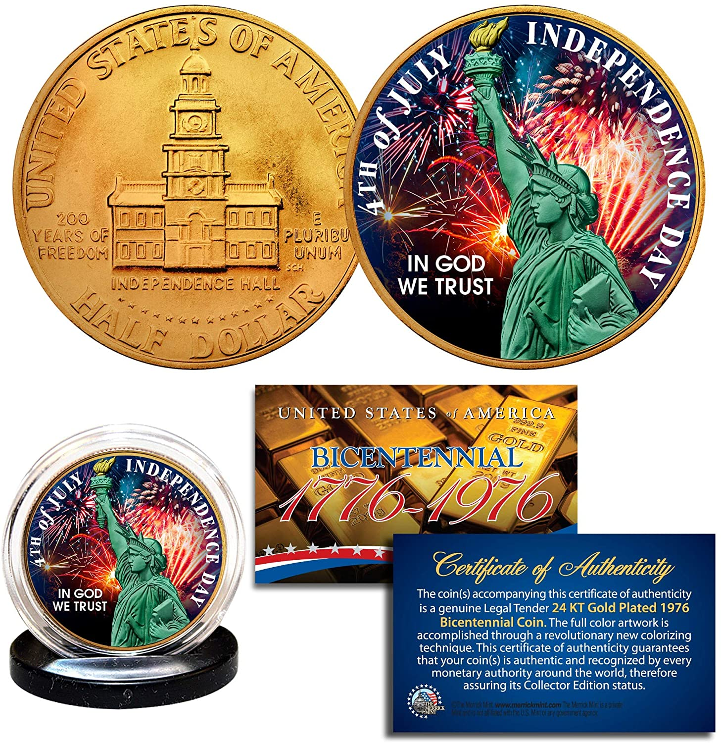 INDEPENDENCE DAY July 4th 1976 Bicentennial JFK Half Dollar 24K Gold Plated Coin
