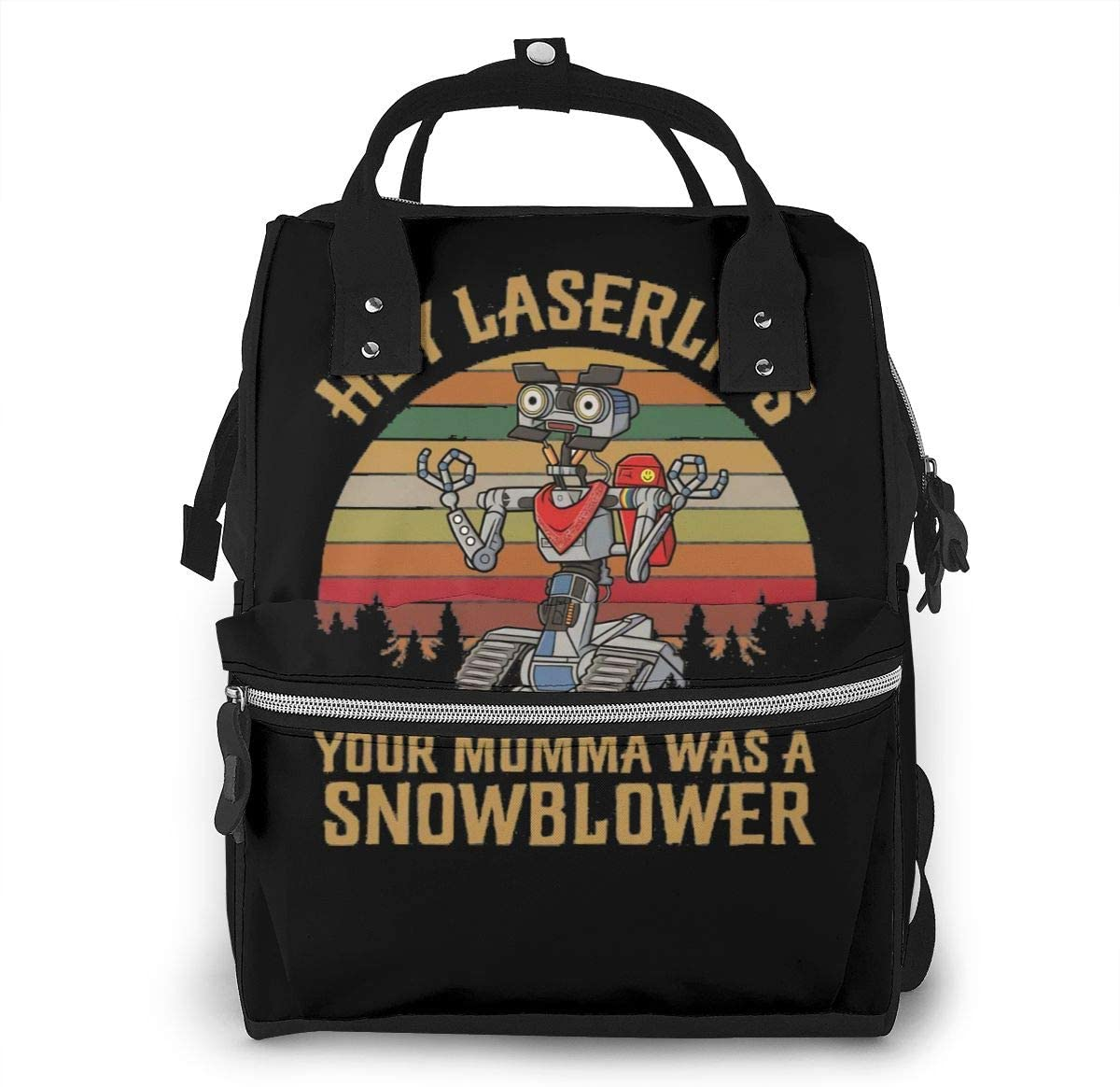 Sherrygeoffrey Hey Laser Lips Your Momma was A Snowblower Diaper Backpack Large Capacity Travel Bag