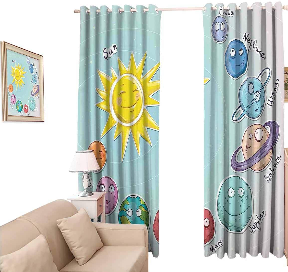 Window Blackout Curtains Fabric, Space Cute Cartoon Sun and Planets of Solar System Fun Celestial Chart Baby Kids Nursery Theme, 108 Inches Long for Nursery Room, 96x108 inch
