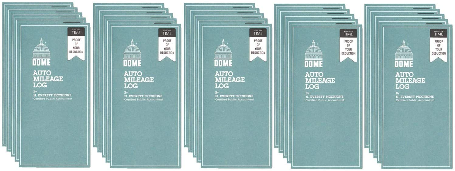 Wholesale CASE of 25 - Dome Publishing Auto Mileage Log-Auto Mileage Book,12 Mthly Forms,32 Pages,3-1/4