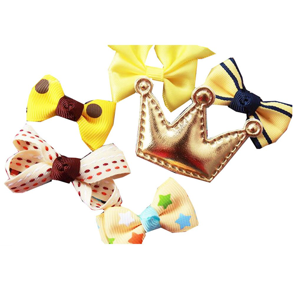 6Pcs Different Shape Colorful Baby Hair Clips-Yellow