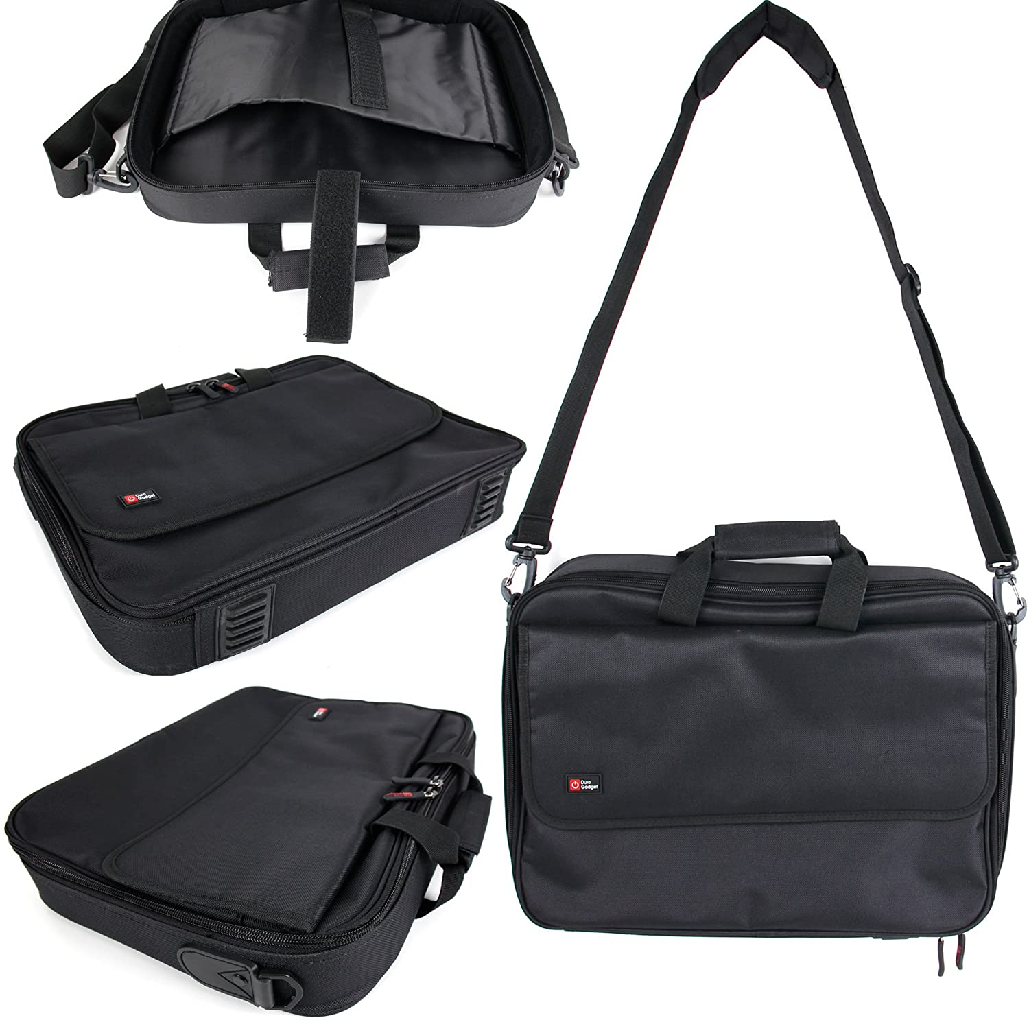 DURAGADGET Black Laptop Briefcase w/Multiple Compartments - Compatible with HP 355 G2 & 350 G1