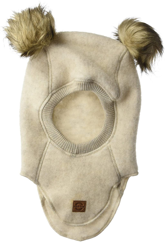 MIKK-Line - Melton Kids & Baby Wool Fullface Balaclava/Ski Mask with Pom Pom Detail, Melange offwhite, 6-12M