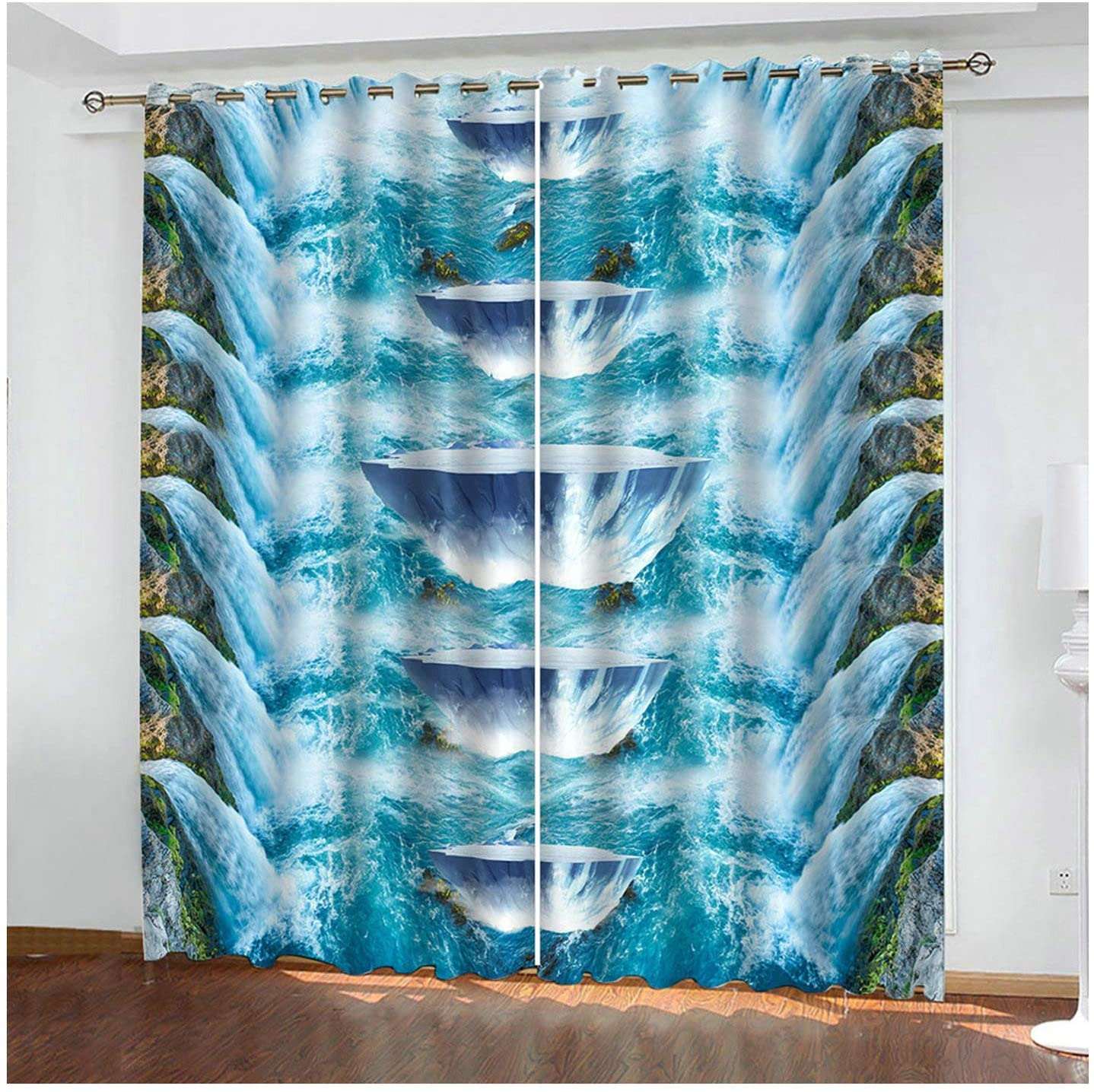 Daesar Polyester Curtains Bedroom 42 x 63 Inch Window Treatments Curtains Waterfall Darkening Curtain for Bedroom Blue Curtain for Living Room 2 Panels