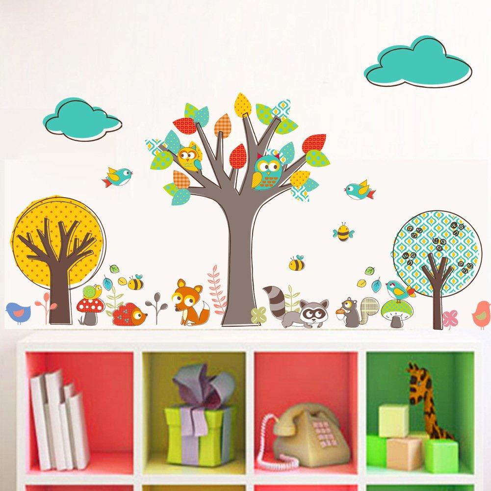 Cartoon Forest Animal Wall Stickers with Owls & Tree - Nursery Playroom Kids Room Wall Art Decals (Tree)