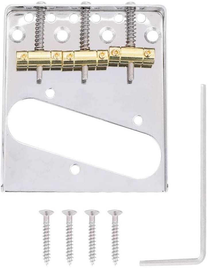 Vbestlife TL Guitar Bridge Electric Guitar Bridge 6 Square Saddle for TL Guitar, 3-Saddle 6-String Bridge Guitar Replacement Bridge Plate for TL Style Guitar Repair Parts
