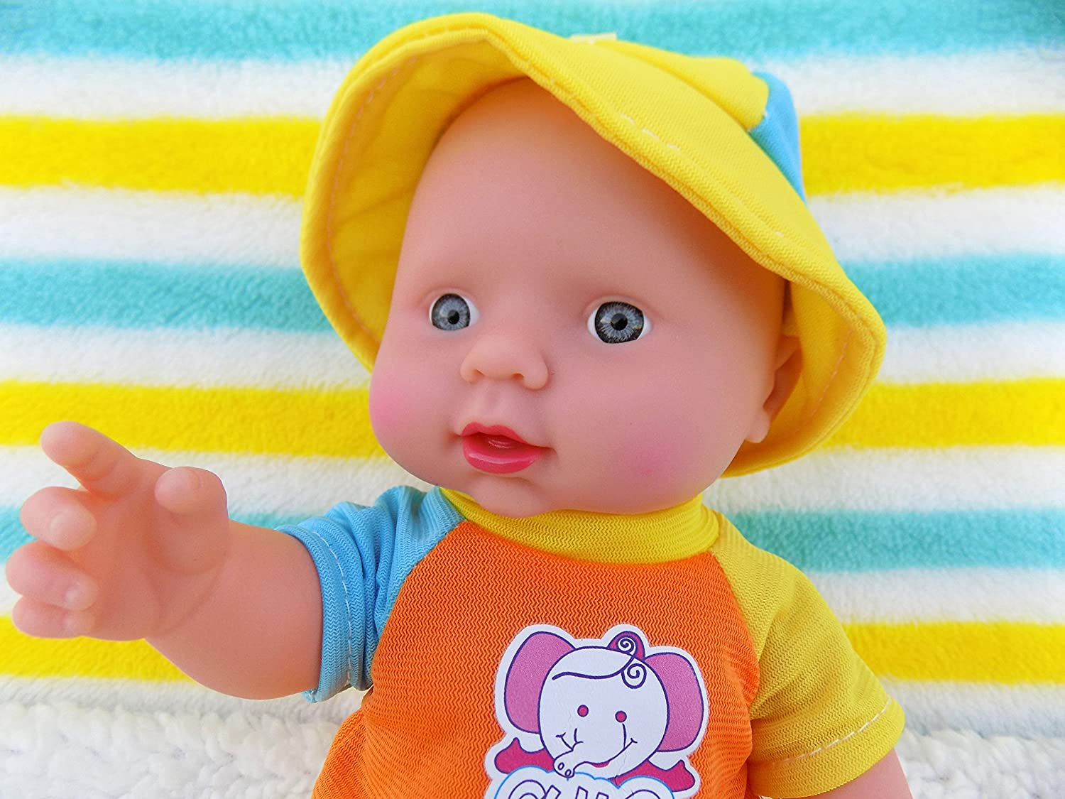 "Baby Boy Real Life Doll 10"" Inches Fruit Scented Blue Eyes 6 Sounds Clothes Talking Toy Fun Play Vivid Press My Belly"