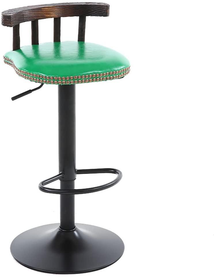 CAIS Chair Stool Simple Atmosphere Retro Wood Bar Chair, Club House Decoration Backrest Chair Restaurant High Stool Cafe Chairs Liftable Chair Rotatable Stool 60-80Cm Non-Slip Seat,#3