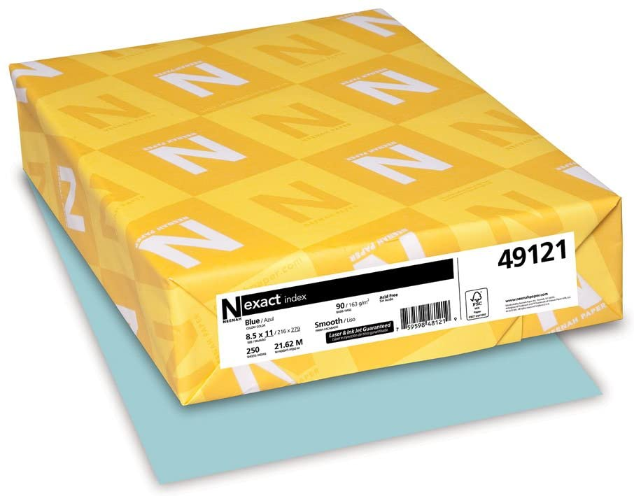 Neenah Wausau Papers Index Card Stock, 8-1/2 X 11, 90-Lb, Pastel Blue, 250 Sheets/Pack (WAU49121)