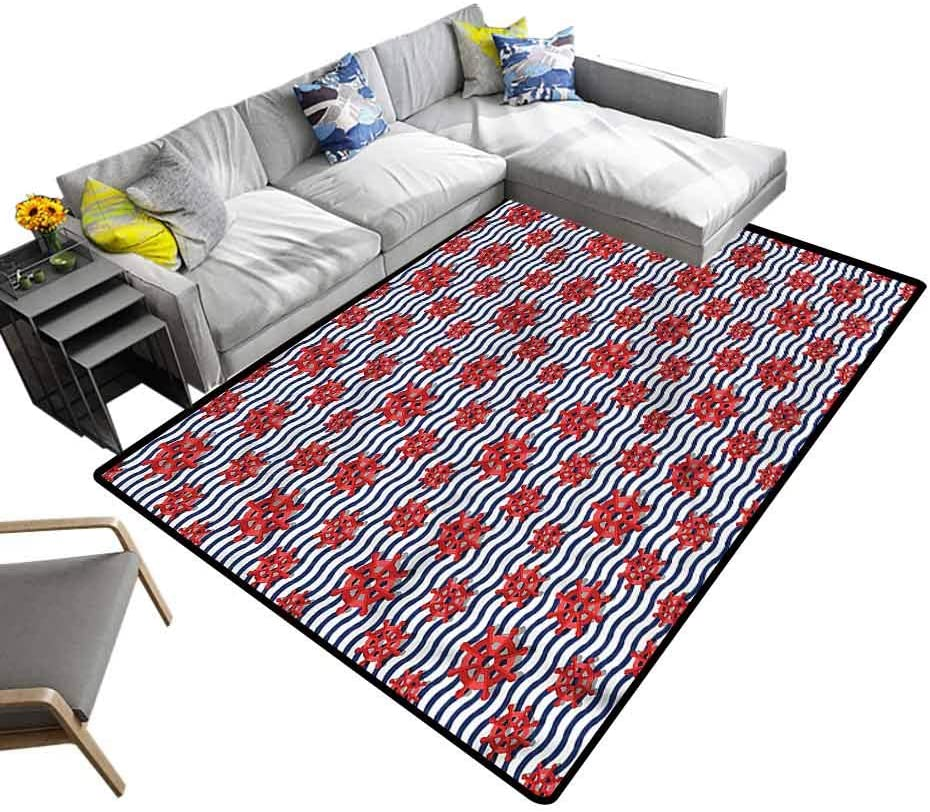 Ships Wheel, Cute Rug Navy Concept Journey Baby Floor Playmats Crawling Mat for Living Room Kids Room, 4'x 6'