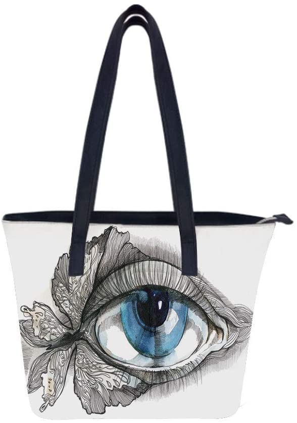 Eye Abstract Eyelashes Women Leather Laptop Tote Office Shoulder Handbag Computer Briefcase