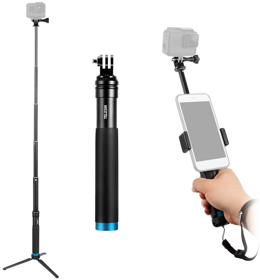 TELESIN Selfie Stick with Tripod Cell Phone Holder Compatible with iPhone X/8/8 Plus/7/7 Plus or Most Android Smartphone Compatible with GoPro Hero 7/6/5/4/3+/3 Action Cameras