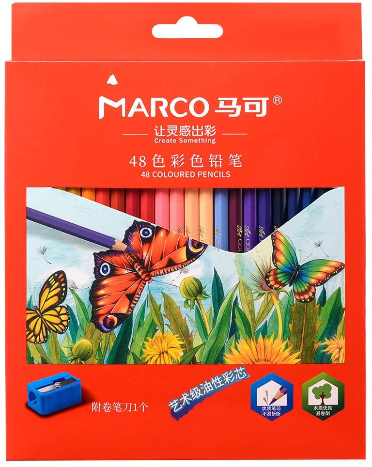 TONGQINH 48 color oily color pencil red box professional painting brush set is not easy to break
