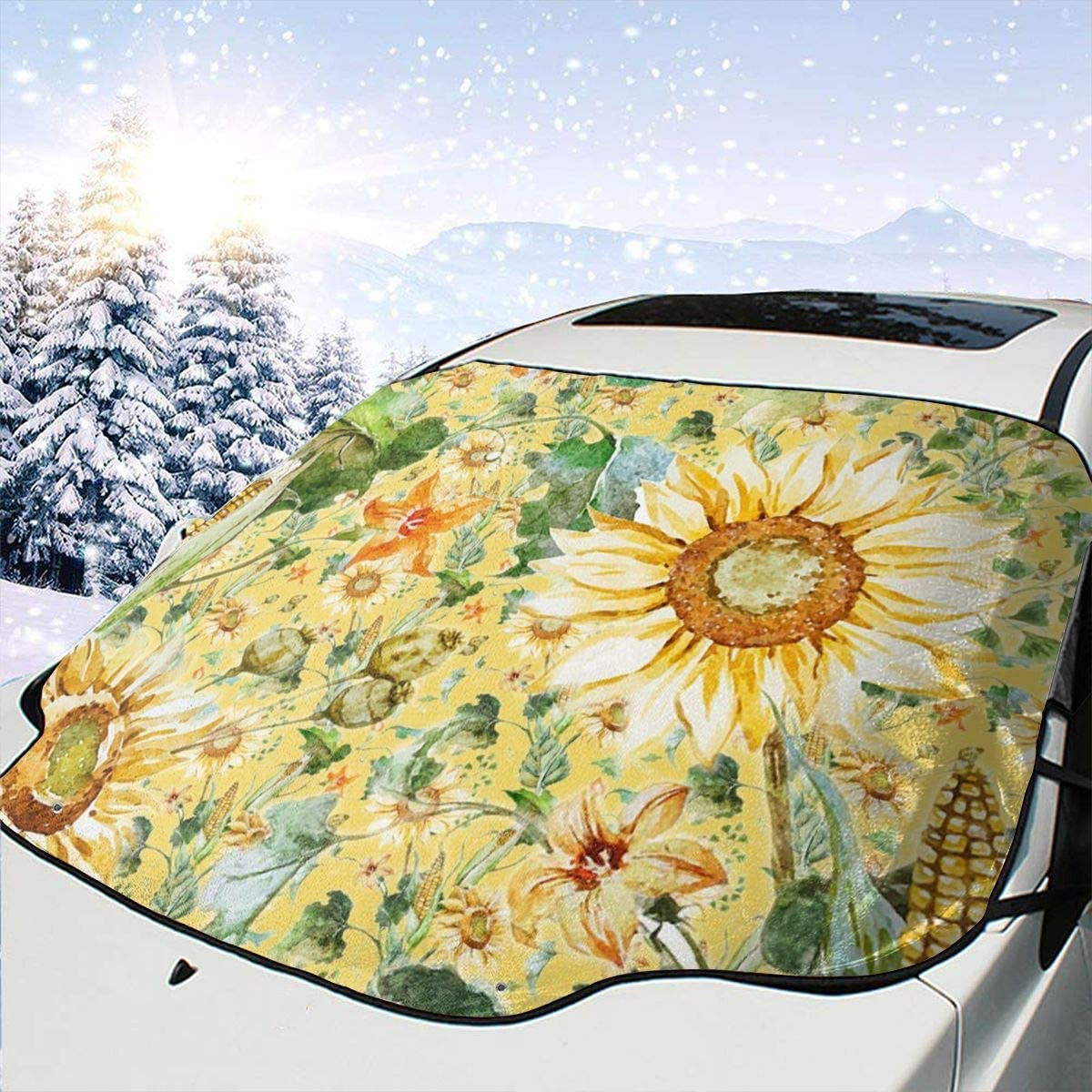 THONFIRE Car Front Window Windshields Winter Sunshade Watercolor Sunflower Beautiful Cover Snow Proof Blocks UV Rays Damage Free Visor Protector SUV Summer Heatshield