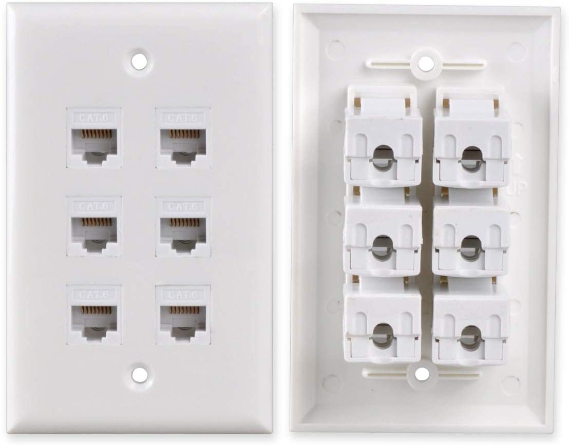 Conwork 6-Port CAT 6 Ethernet Wall Plate, RJ45 Ethernet Punch Down Keystone Inserts Jack Network Wall Plate Panel - Cat6/5/5e Compatible (2-Pack)