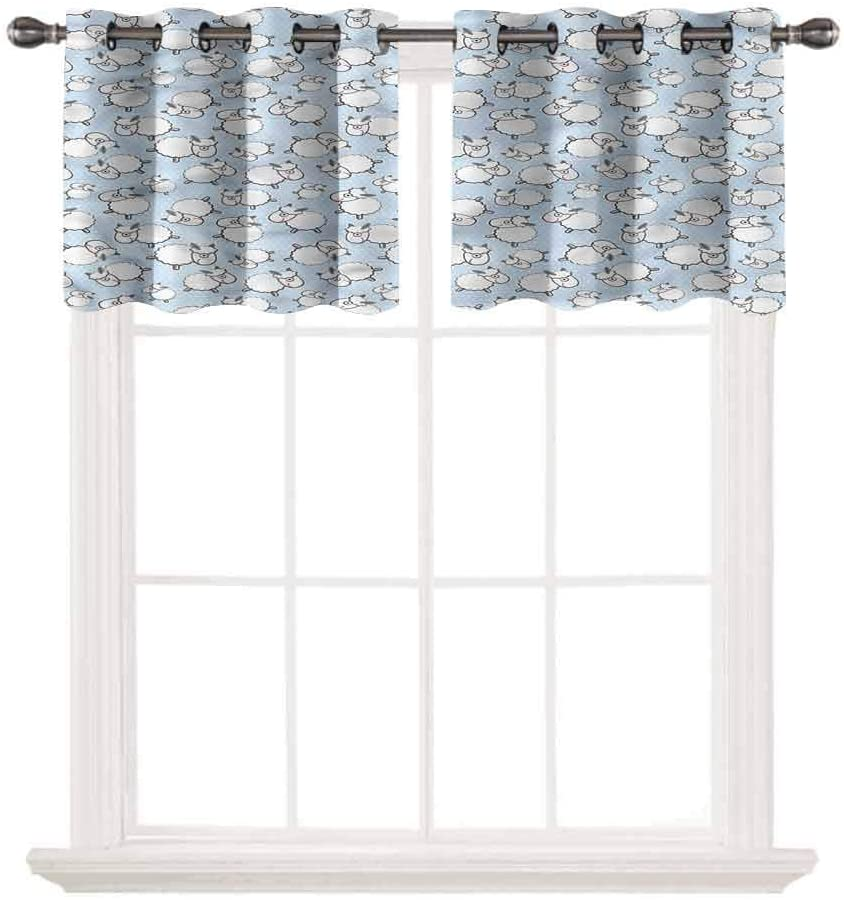 SoSung Blackout Grommet Valance,Cute,Farm Animals Baby Sheep Lamb,for Kitchen Living Dining Room Bathroom Kids Girl Baby Bedroom,W52 by L24,2 Panels