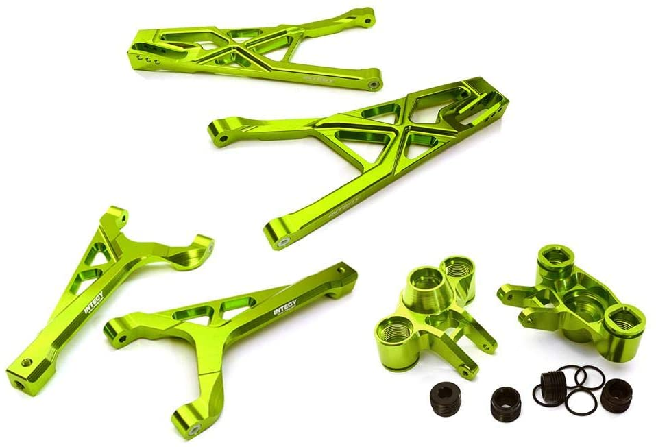 Integy RC Model Hop-ups C28157GREEN Billet Machined Front Suspension Set for Traxxas 1/10 Scale Summit 4WD