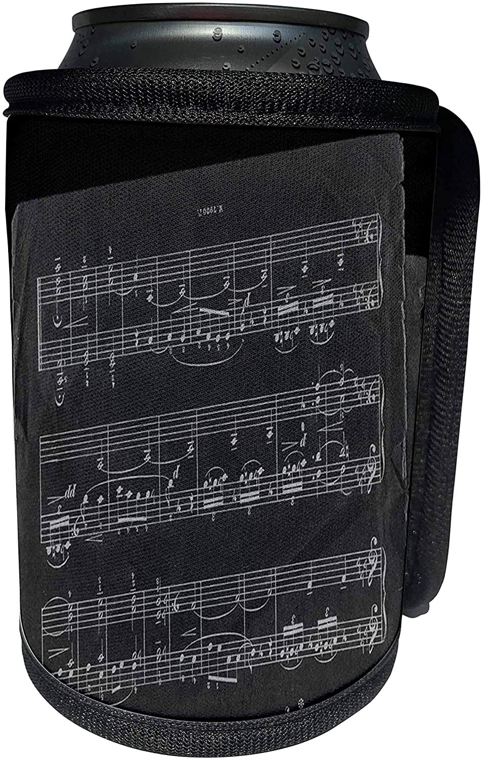 3dRose Yves Creations Musical Notes - Midnight Black Music Notes - Can Cooler Bottle Wrap (cc_20633_1)