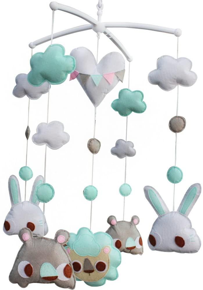 Panda Legends White Blue Tiger Rabbit Bear Handmade Baby Crib Mobile Animal Hanging Musical Mobile Infant Nursery Room Toy Decor