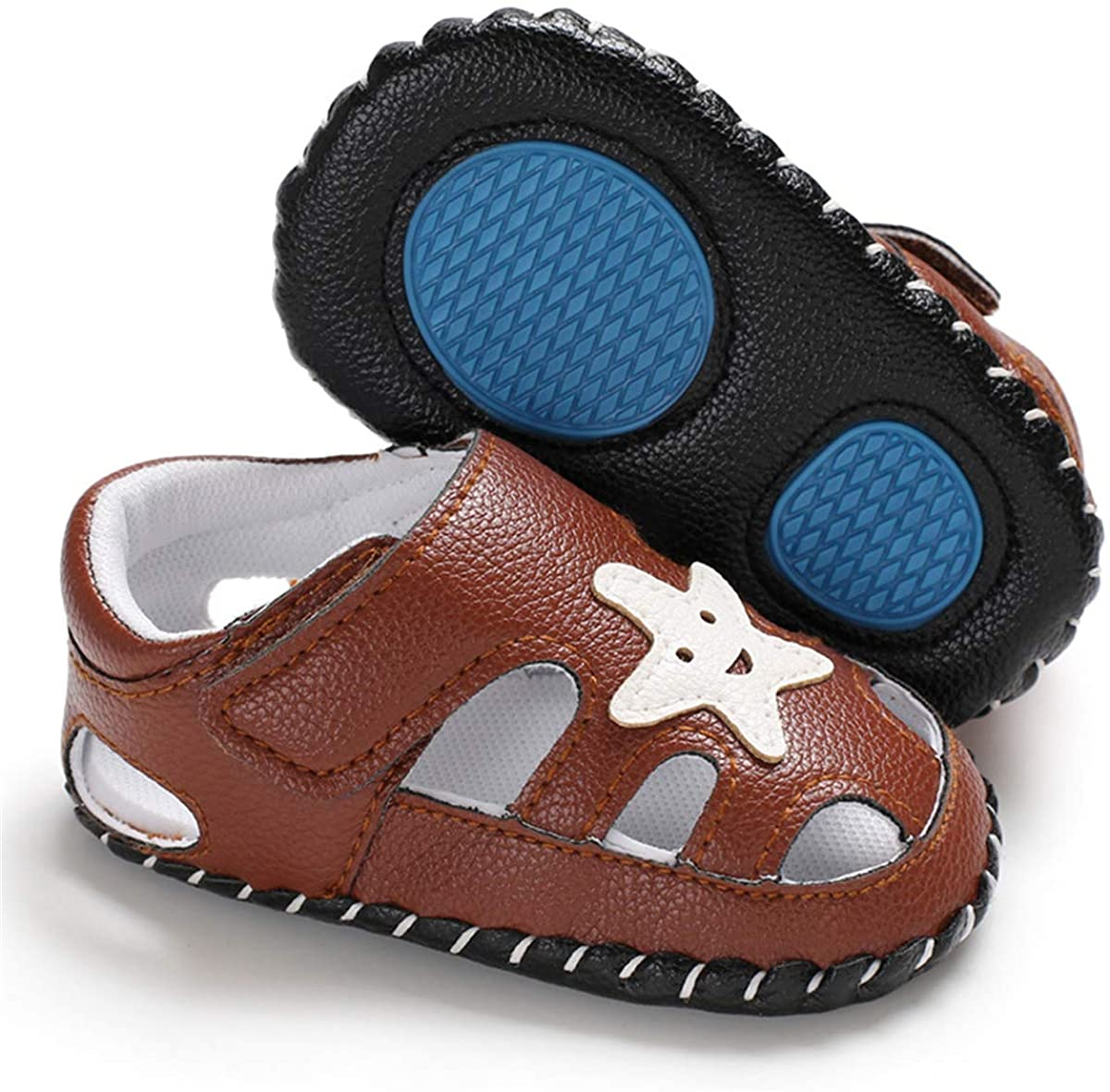 CENCIRILY Baby Boys Girls Sandals Summer Non Slip Rubber Sole Cartoon Leather First Walking Slippers Infant Crib Shoes
