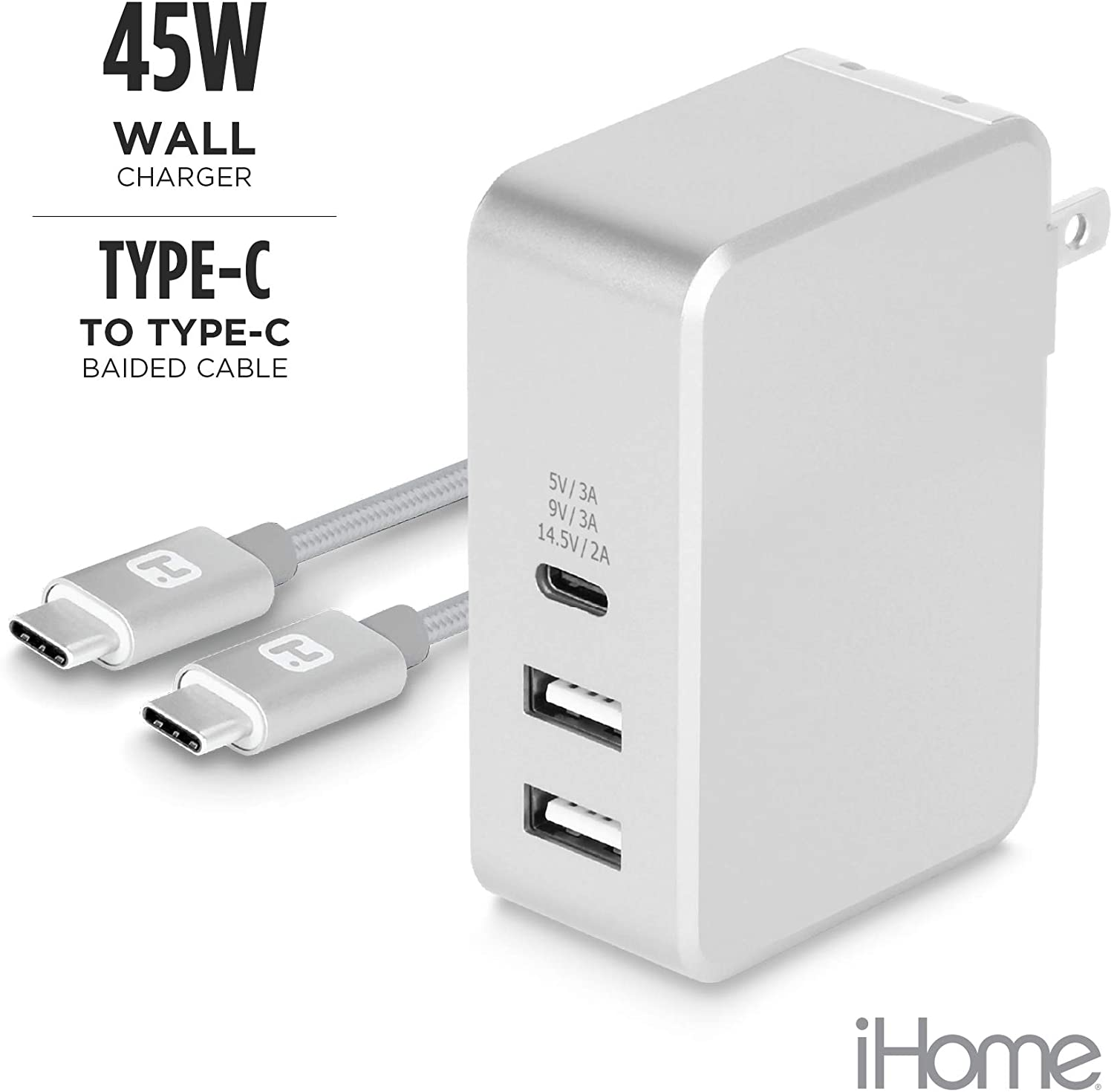 iHome USB Type-C 3-Port 45W Rapid Portable Wall Charger. Power Delivery Port for Apple MacBook, iPhone X/ 8/8 Plus, Nintendo Switch & More. Includes 6Ft USB-C Braided Cable -Silver