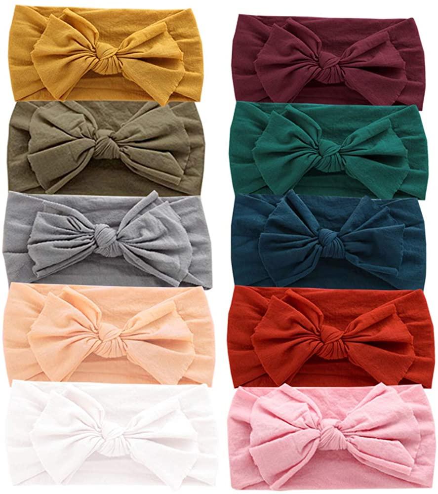 Baby Nylon Headbands Hairbands Hair Bow Elastics for Baby Girls Newborn Infant Toddlers Kids (Set 4-10PCS)