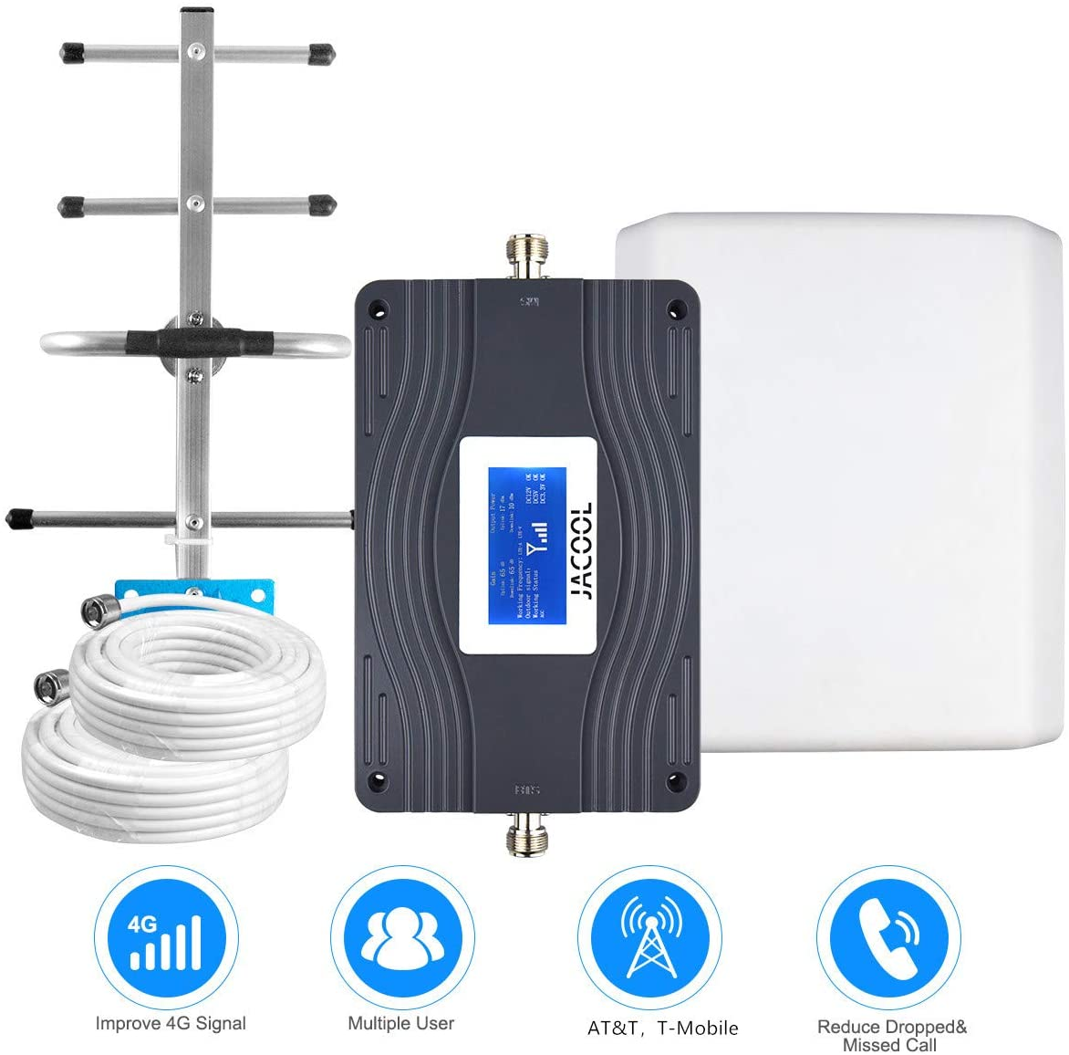AT&T Cell Phone Signal Booster 4G LTE T-Mobile ATT Cell Signal Booster Amplifier FDD AT&T US Cellular Mobile Signal Booster 700MHz Band 12/17 for Home Use - Improve 4G Data & Voice for Remote Area