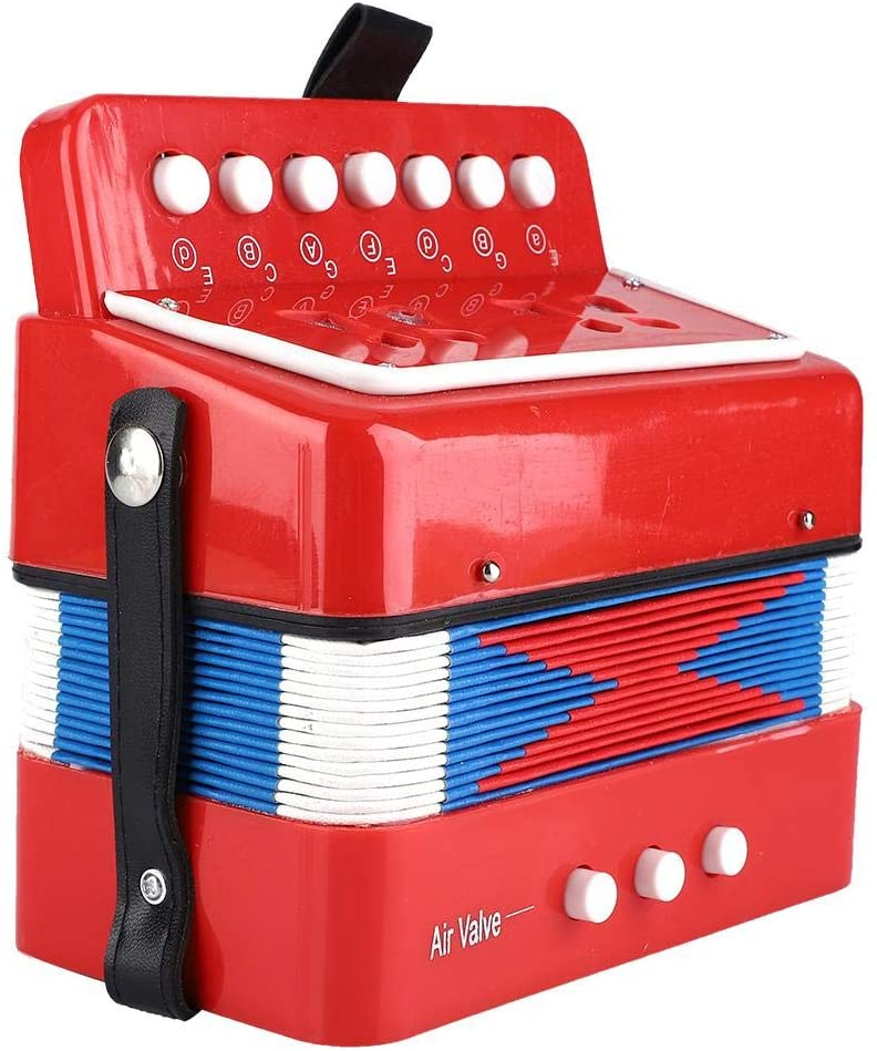 Children Accordion Toy,Kids 7-Key 2 Bass Mini Small Accordion Educational Musical Instrument Rhythm Band Musical Toy(Red)
