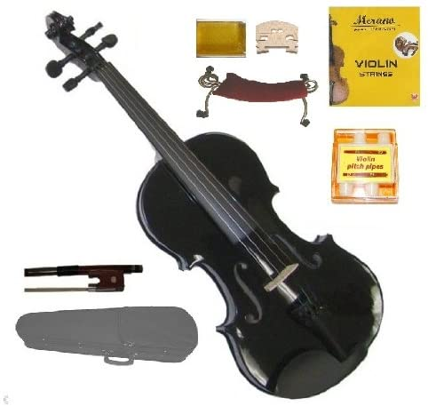 Merano MV300BK 1/4 Size Black Violin with Case and Bow+Extra Set of Strings, Extra Bridge, Rosin, Pitch Pipe, Shoulder Rest