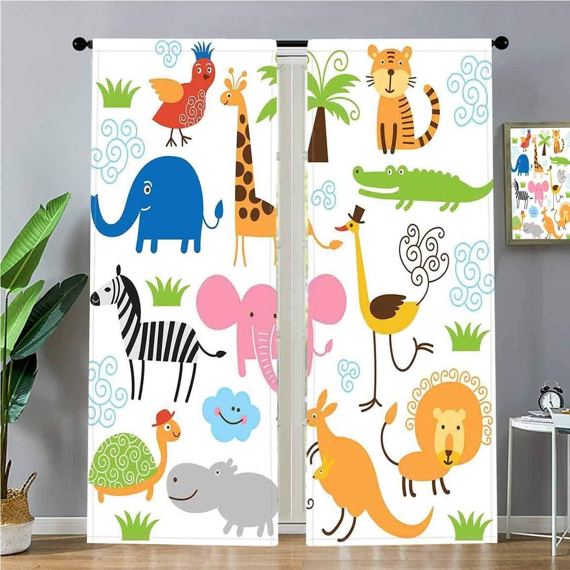 SoSung Blackout Curtains Cute Set of Giraffe Elephant Zebra Turtle Kids Nursery Baby Themed Cartoon Comic Print Window Treatments 2 Panel Set for Living Room Bedroom Decor,W52 x L72