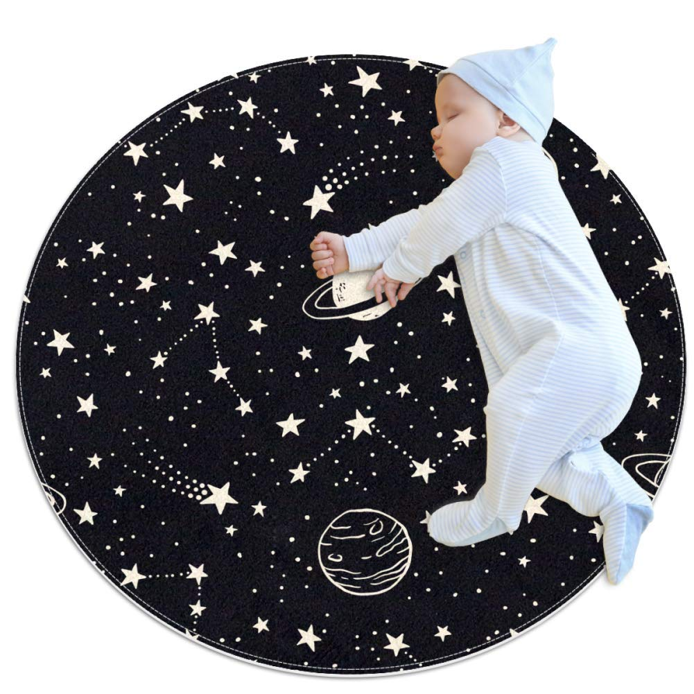Baby Rug Star Planet Black Round Tent Rug Super Soft Nursery Rug Anti-Slip for Infants Toddlers 39.4x39.4in
