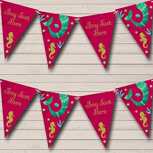 Pink Mermaid Under The Sea Personalized Baby Shower Bunting Flags Banner