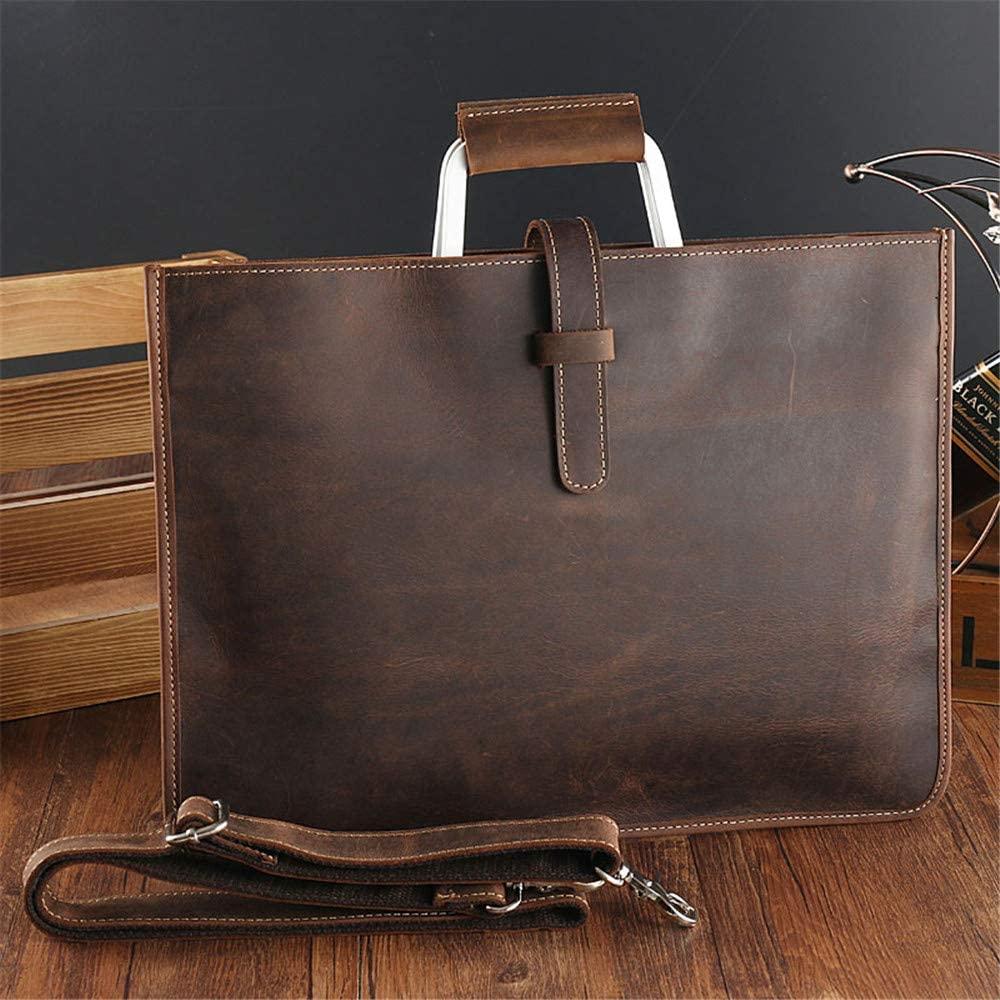 PUEEPDEE Men's Briefcase Men's Bag Cross Section Retro Bag Briefcase Leather Suede Leather Men's Handbag Laptop Bag (Color : Coffee Colour)