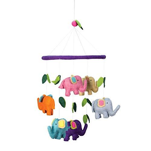Multi-Colored Elephants Theme - Hanging Baby Nursery Decor Crib Mobile - Handmade 100% Natural Felted Wool (Purple)