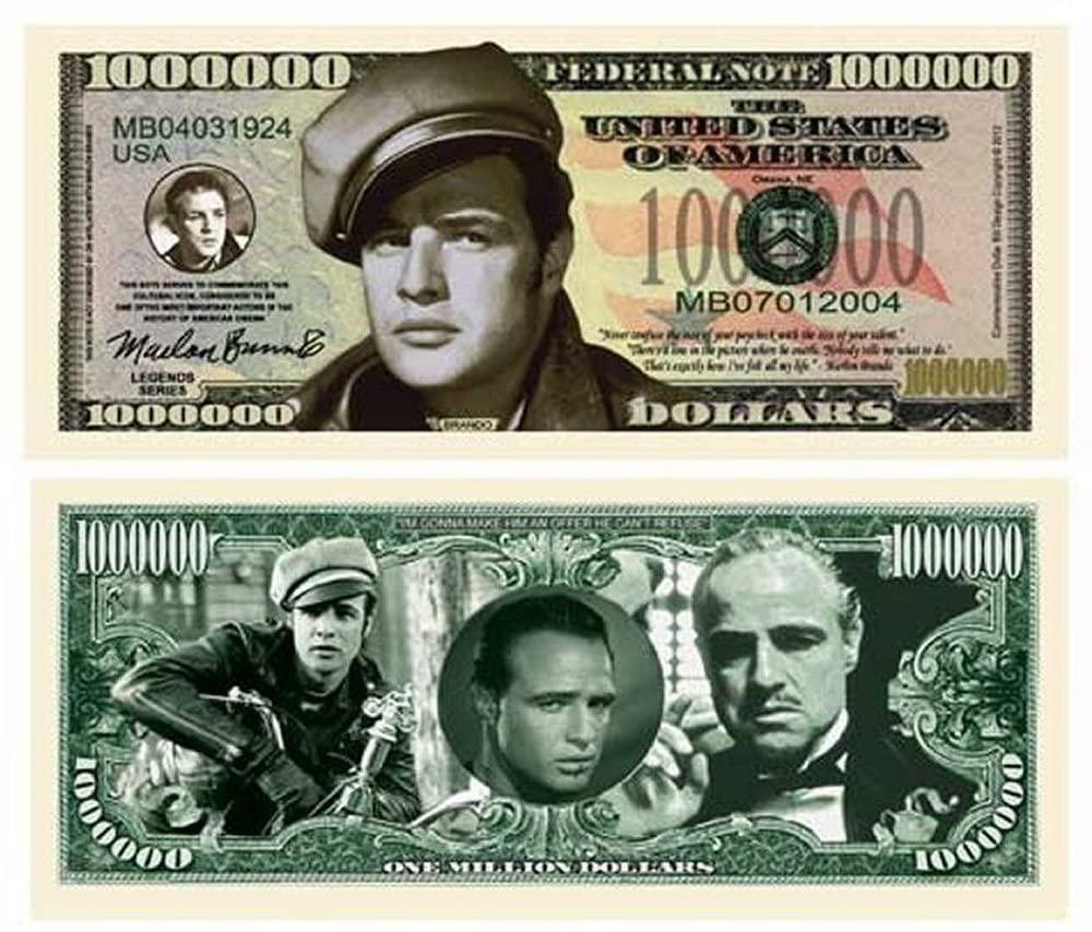 "5 Marlon Brando Million Dollar Bills with Bonus ""Thanks a Million"" Gift Card Set"