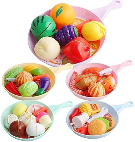 XZLIN 39 PC Kitchen Toys Cutting Toy Food Playset for Kids with Pretend Play Fruits and Vegetables,Breakfast, Seafood, Burger